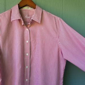 Foxcroft Striped Button Up Shirt Red White 14 Plus